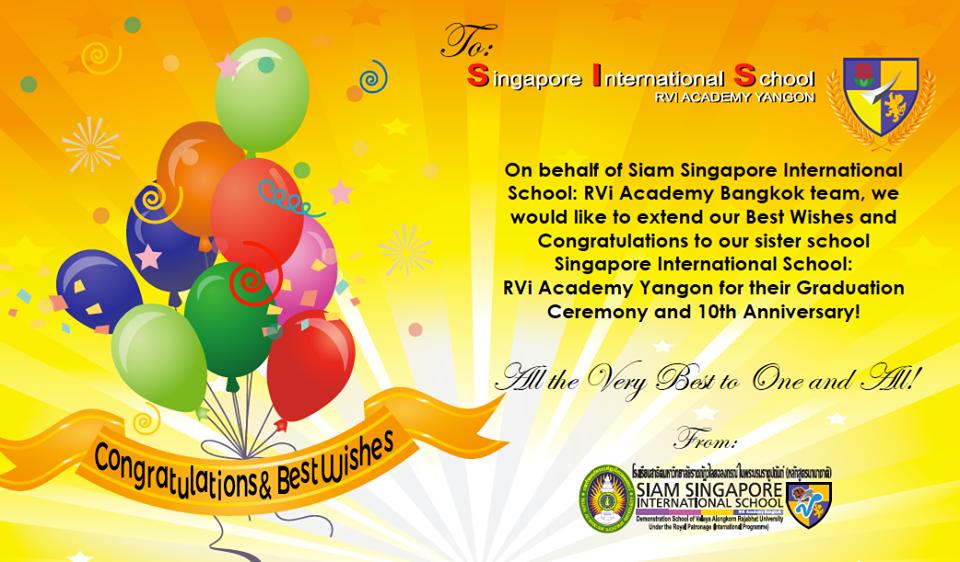 Congratulations Singapore International School: RVi Academy Yangon